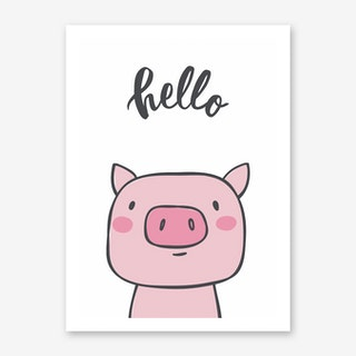 Hello Pig Art Print