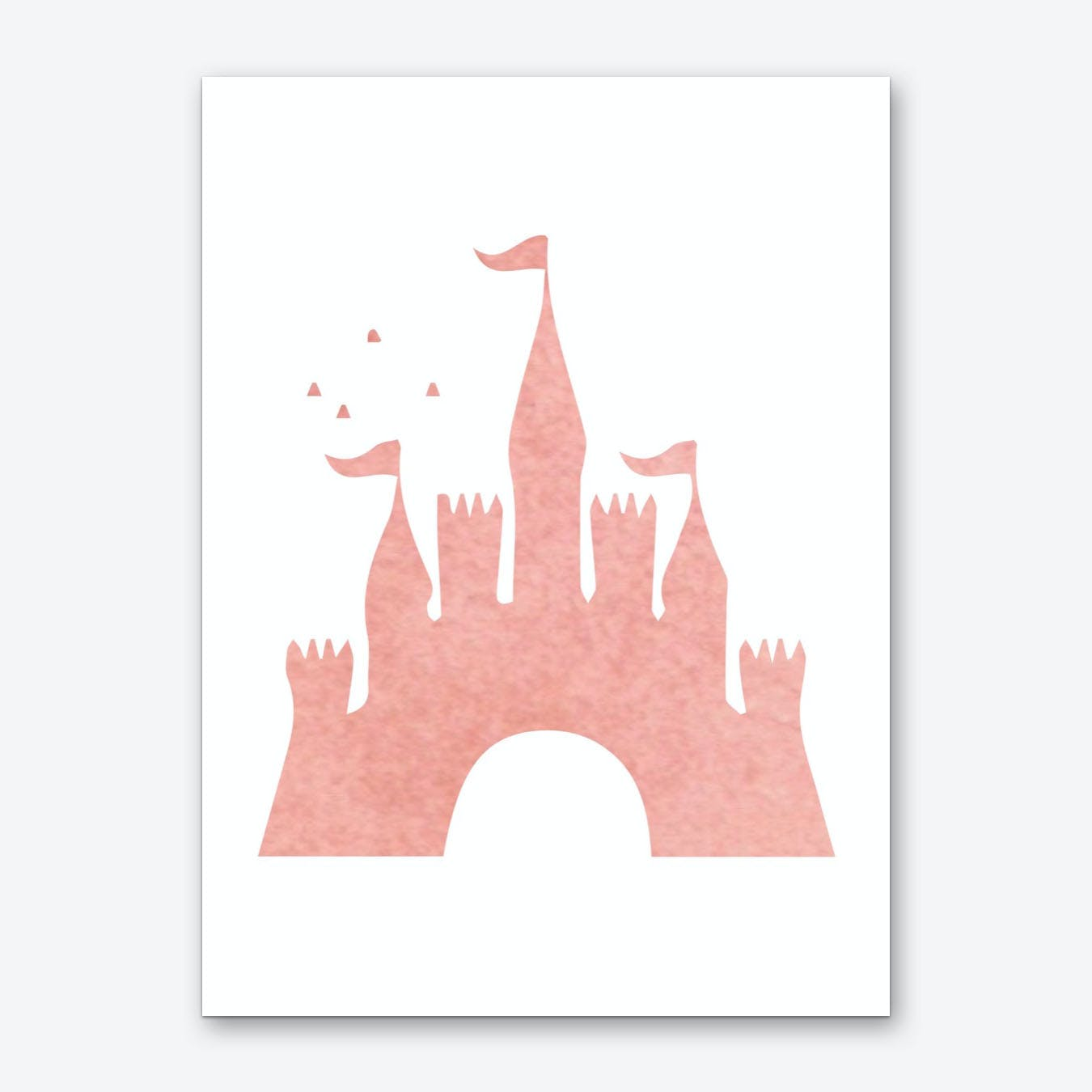Peach Watercolour Castle Art Print