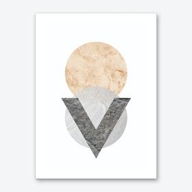 Peach and Grey Marble Circles Art Print