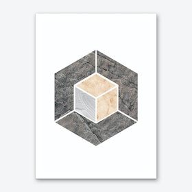 Peach and Grey Marble Hex Art Print