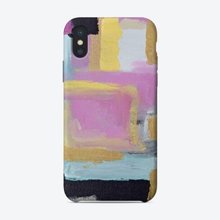 Abstract Blue and Gold Marble Circles Phone Case iPhone Case