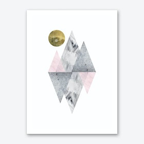 Pink and Grey Triangles Abstract Art Print