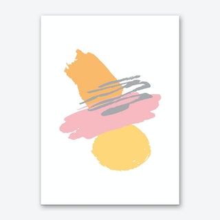 Pink and Orange Abstract Paint Shapes Art Print