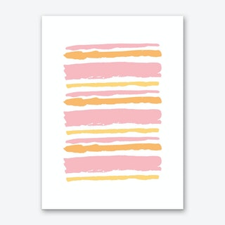 Pink and Orange Abstract Stripes Art Print