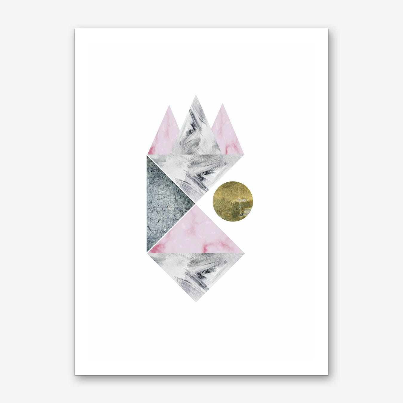 Pink, Gold and Grey Marble Abstract Art Print