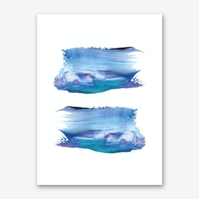 Realistic Blue Purple Paint Strokes Art Print