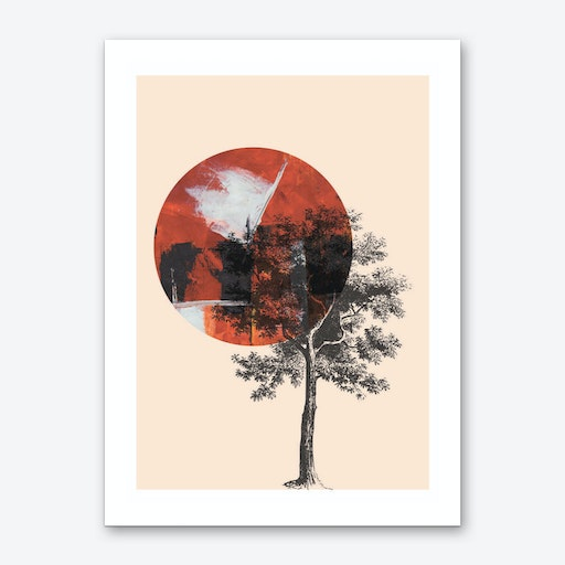 Red Moon with Black Tree Art Print