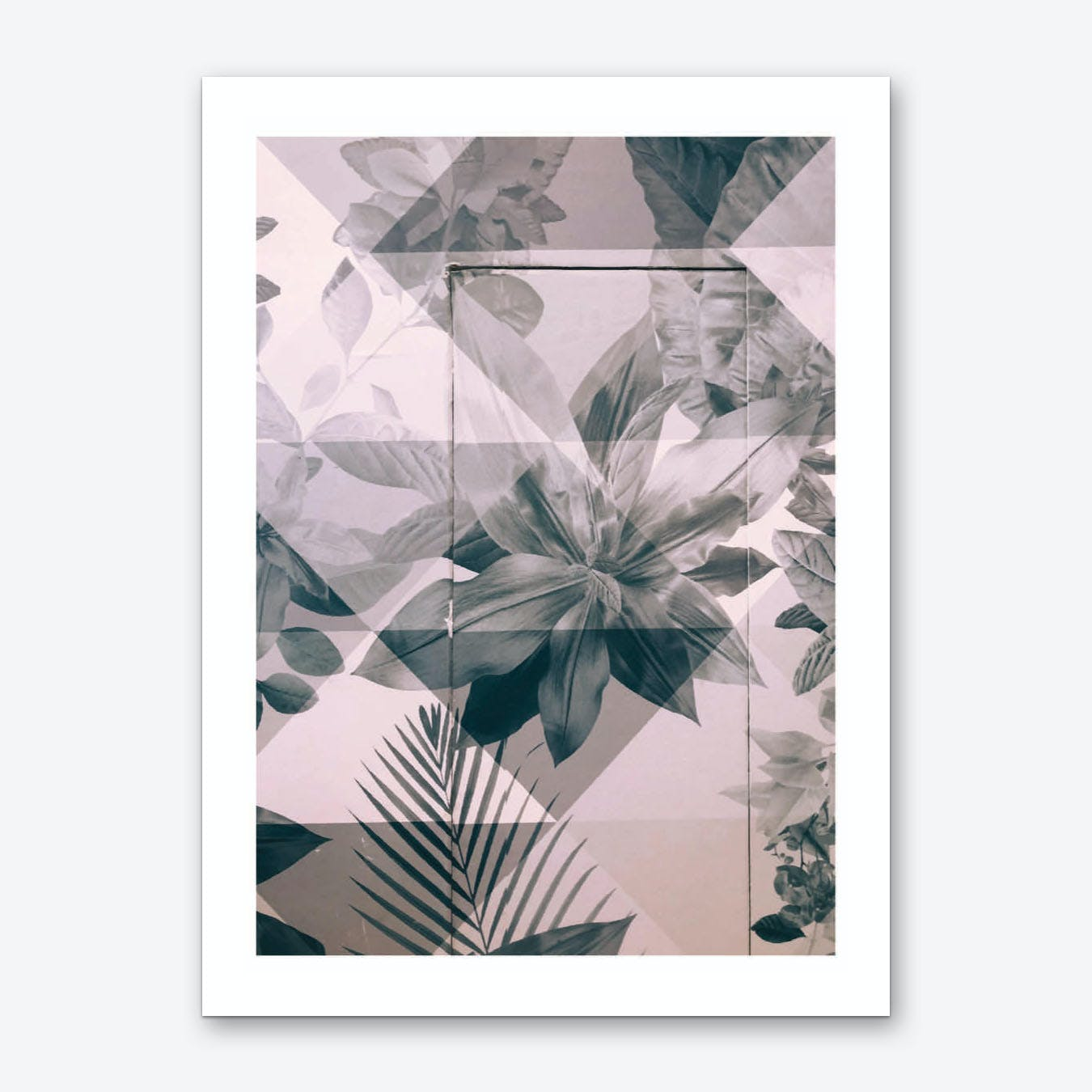 Retro Pink and Black Flowers Pattern Art Print