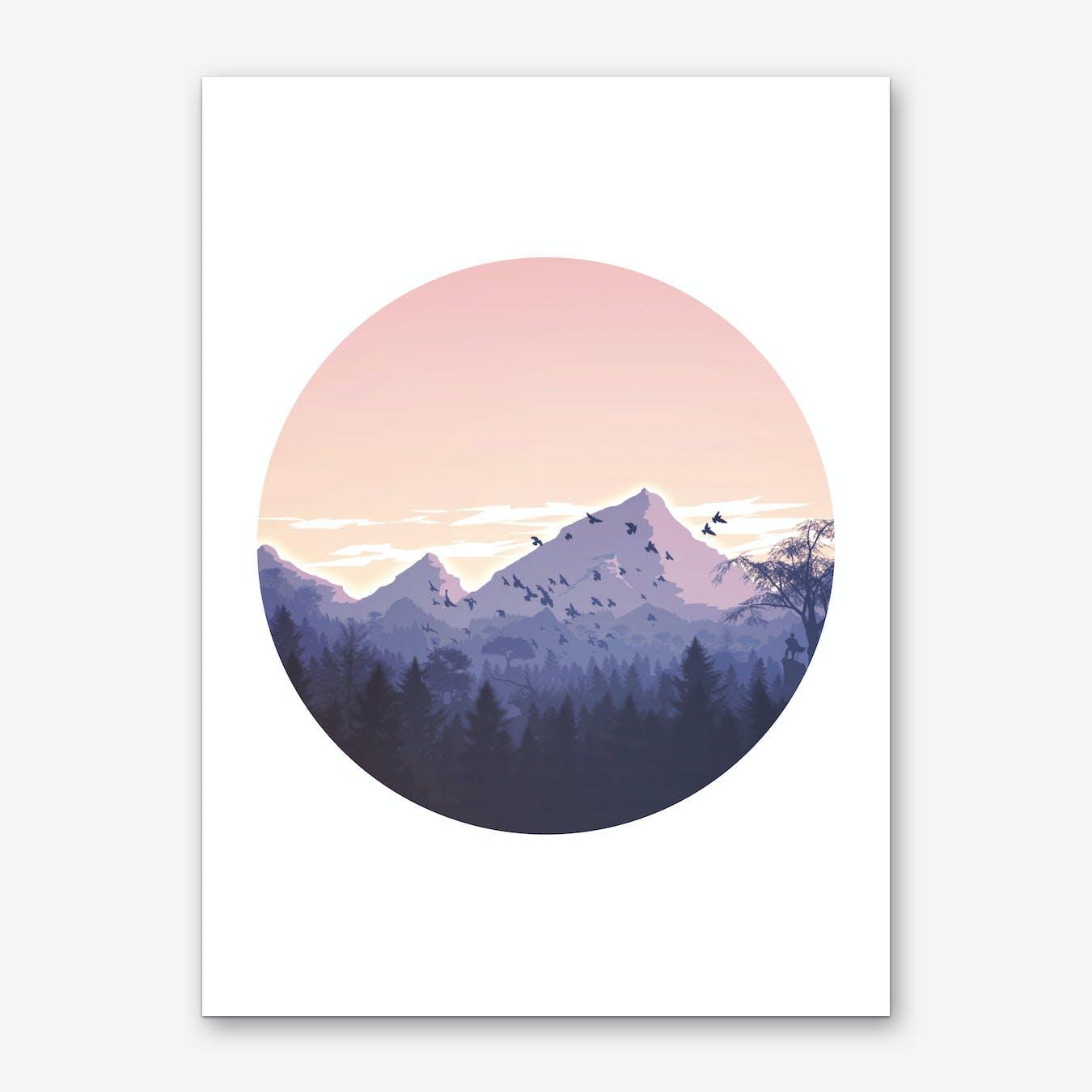 Round Pink Mountains Illustration Art Print