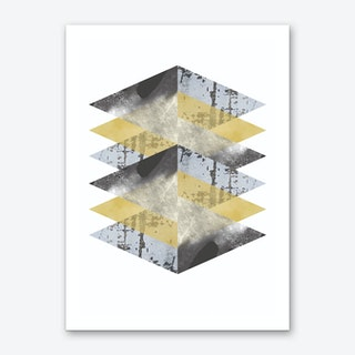 Scruff Yellows and Grey Abstract Art Print