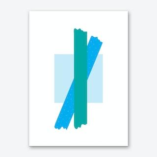 Teal Cross Over Blue Box Abstract Art Print
