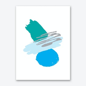 Teal and Blue Abstract Paint Shapes Art Print