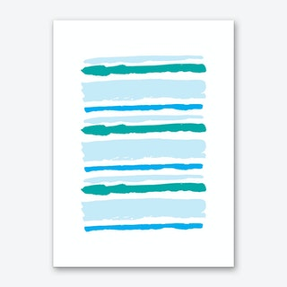 Teal and Blue Abstract Stripes Art Print