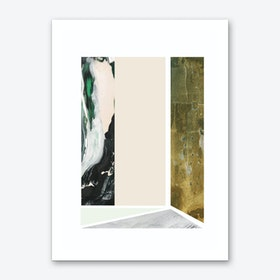 Textured Abstract Peach and Green Rectangles Art Print