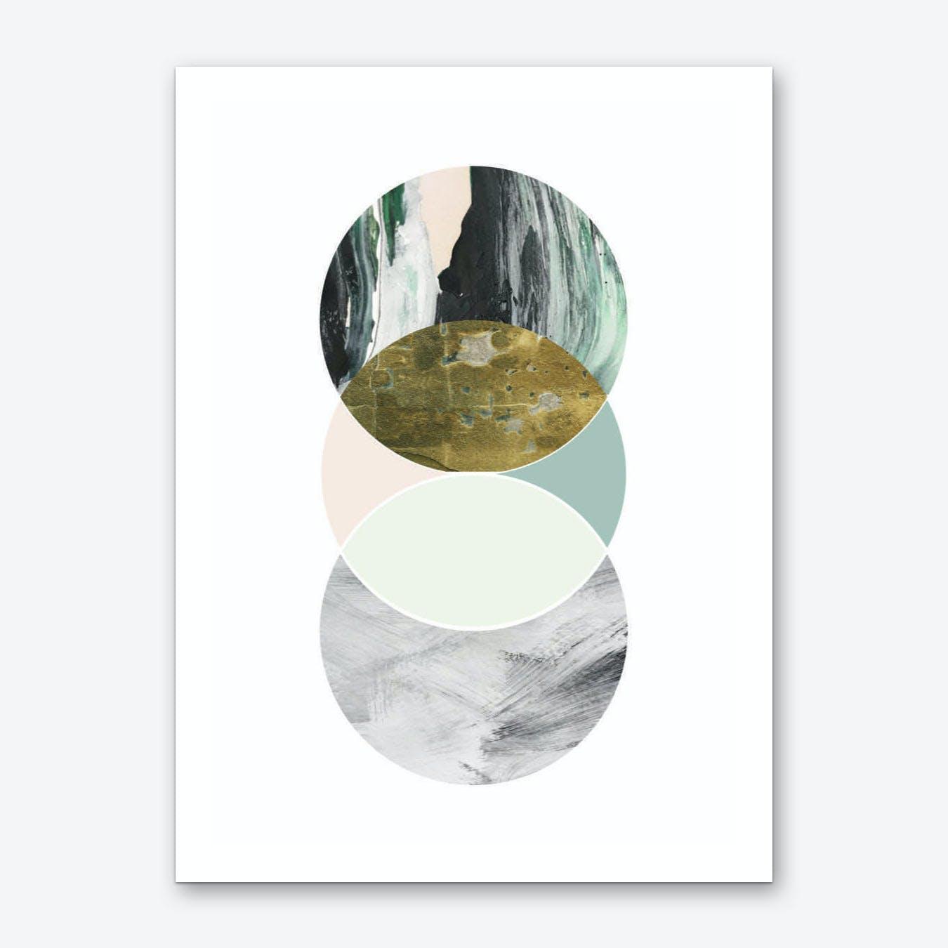 Textured Abstract Peach and Grey Circles Art Print