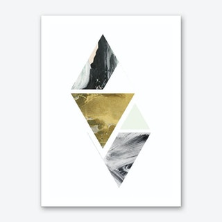 Textured Abstract Peach and Grey Triangles Art Print