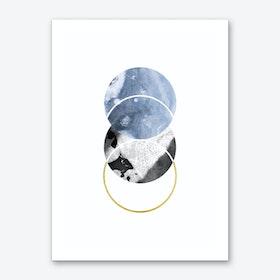 Three Marble Blue Circle Abstract Art Print