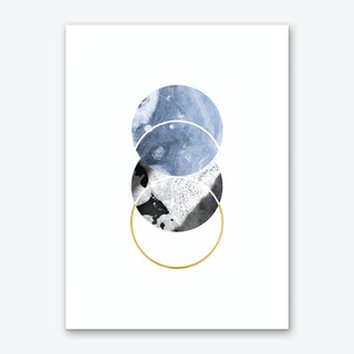 Three Marble Blue Circle Abstract Art Print
