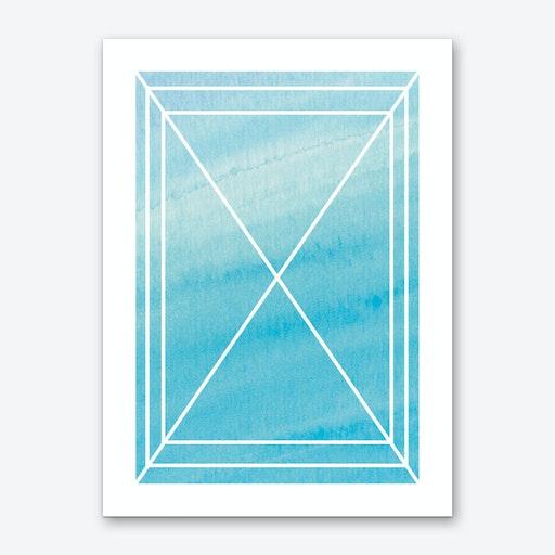 Turquoise Watercolour Grid Art Print