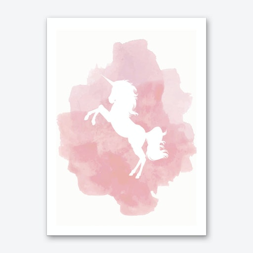 Unicorn Pink Watercolour Art Print