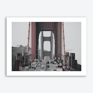 Vintage America Golden Gate Bridge Art Print