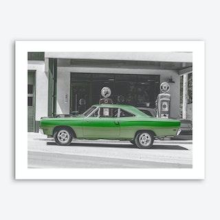 Vintage America Green Car Art Print