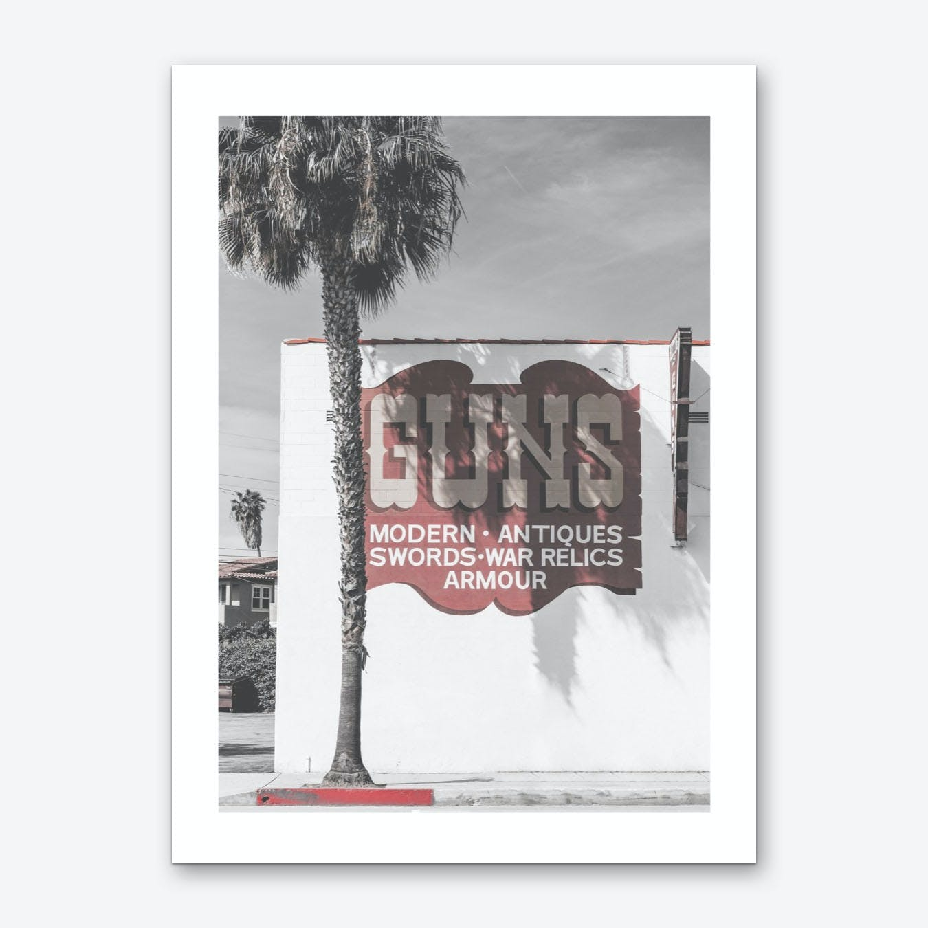 Vintage America Guns Palm Tree Sign Art Print