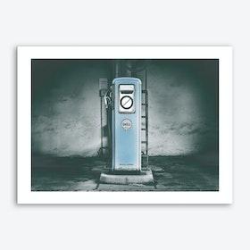Vintage America Little Blue Gas Pump Art Print