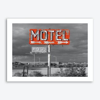 Vintage America Motel Sign Art Print