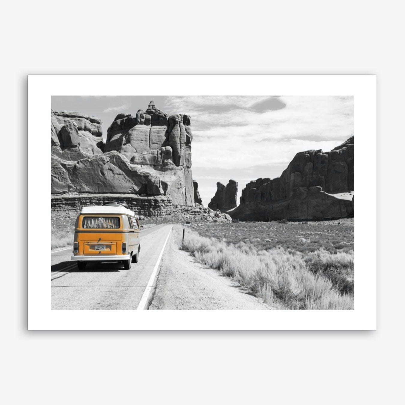 Vintage America Orange Camper Van Art Print