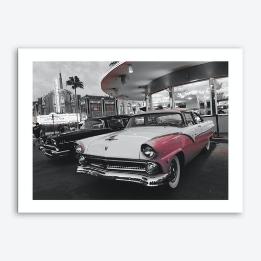 Vintage America Pink Car at Diner Art Print