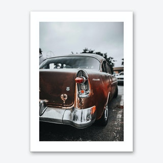 Vintage America Red Retro Car Art Print