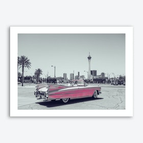 Vintage America Retro Pink Car Art Print