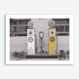 Vintage America Shell Yellow Gas Pumps Art Print