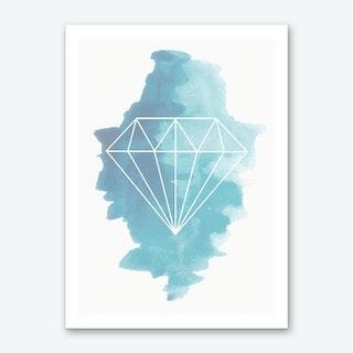 Watercolour Blue Diamond Art Print