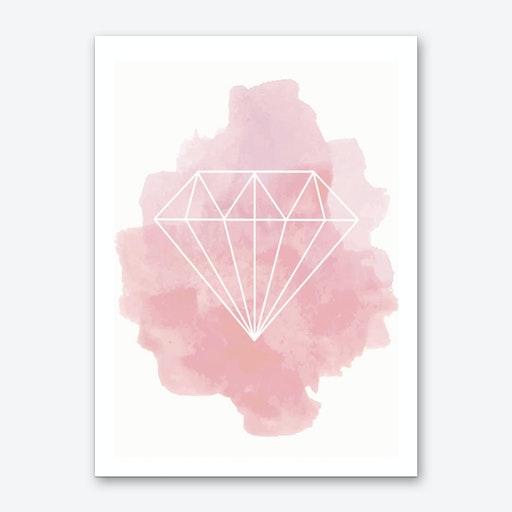 Watercolour Pink Diamond Art Print