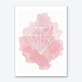 Watercolour Pink Diamond Art Print