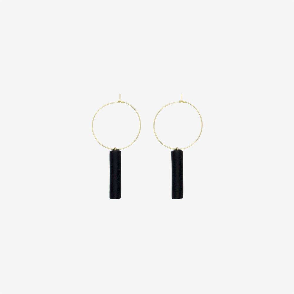 Gold Hoop Earring - Black Bar Pendant