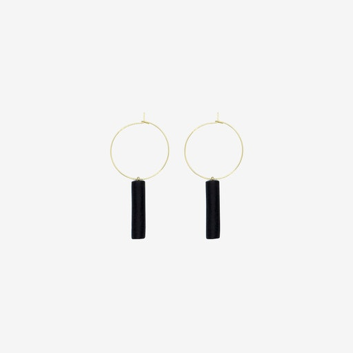 Gold Hoop Earring - Black Bar Pendant