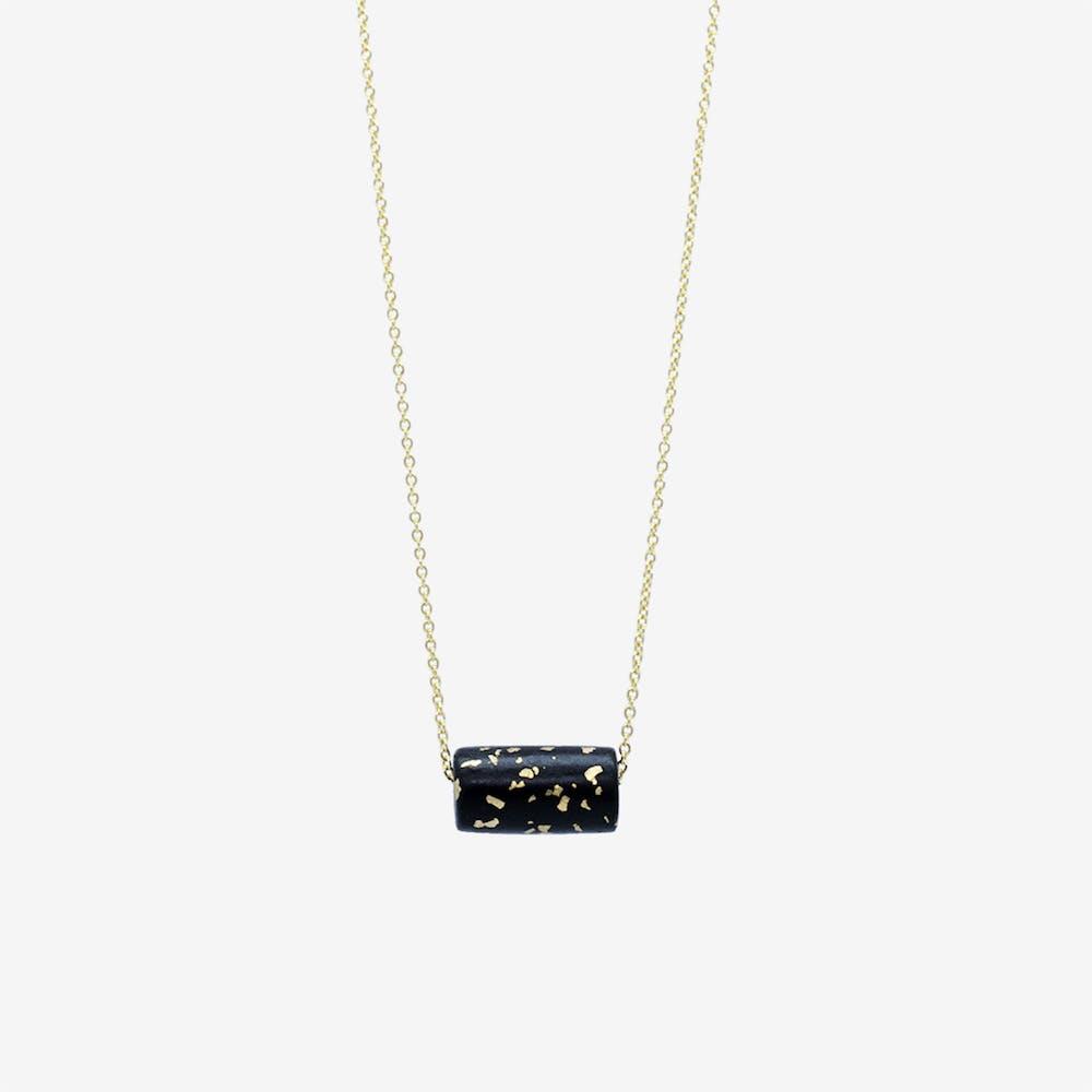 Gold Necklace - Black & Specks Tube Bead Pendant