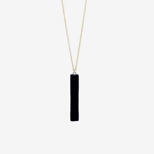 Gold Necklace - Black Bar Pendant