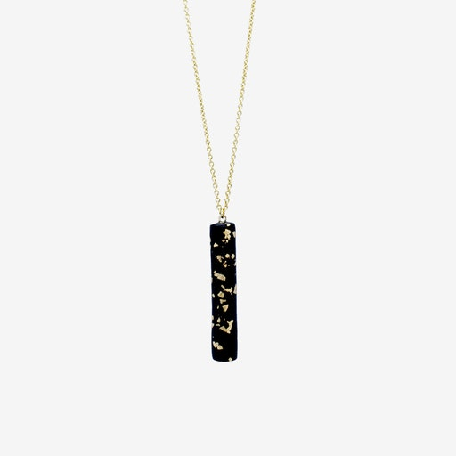 Gold Necklace - Black & Specks Bar Pendant