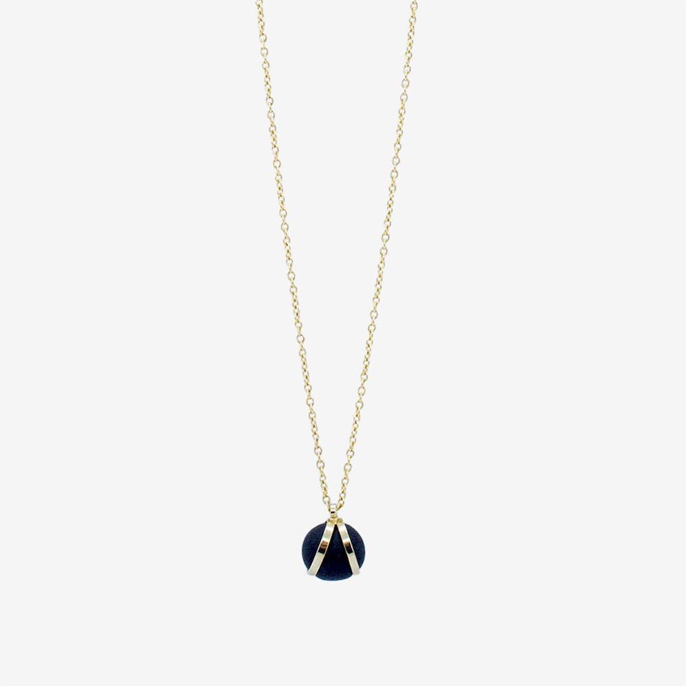 Gold Necklace - Black Round Bead Pendant