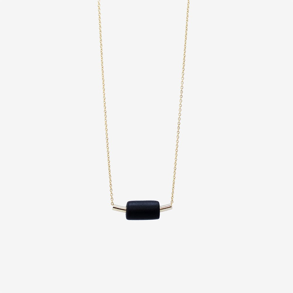 Gold Necklace - Tube & Black Bead Pendant