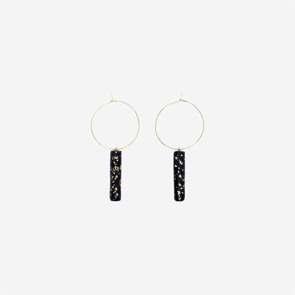 Gold Hoop Earring - Black Bar & Specks Pendant