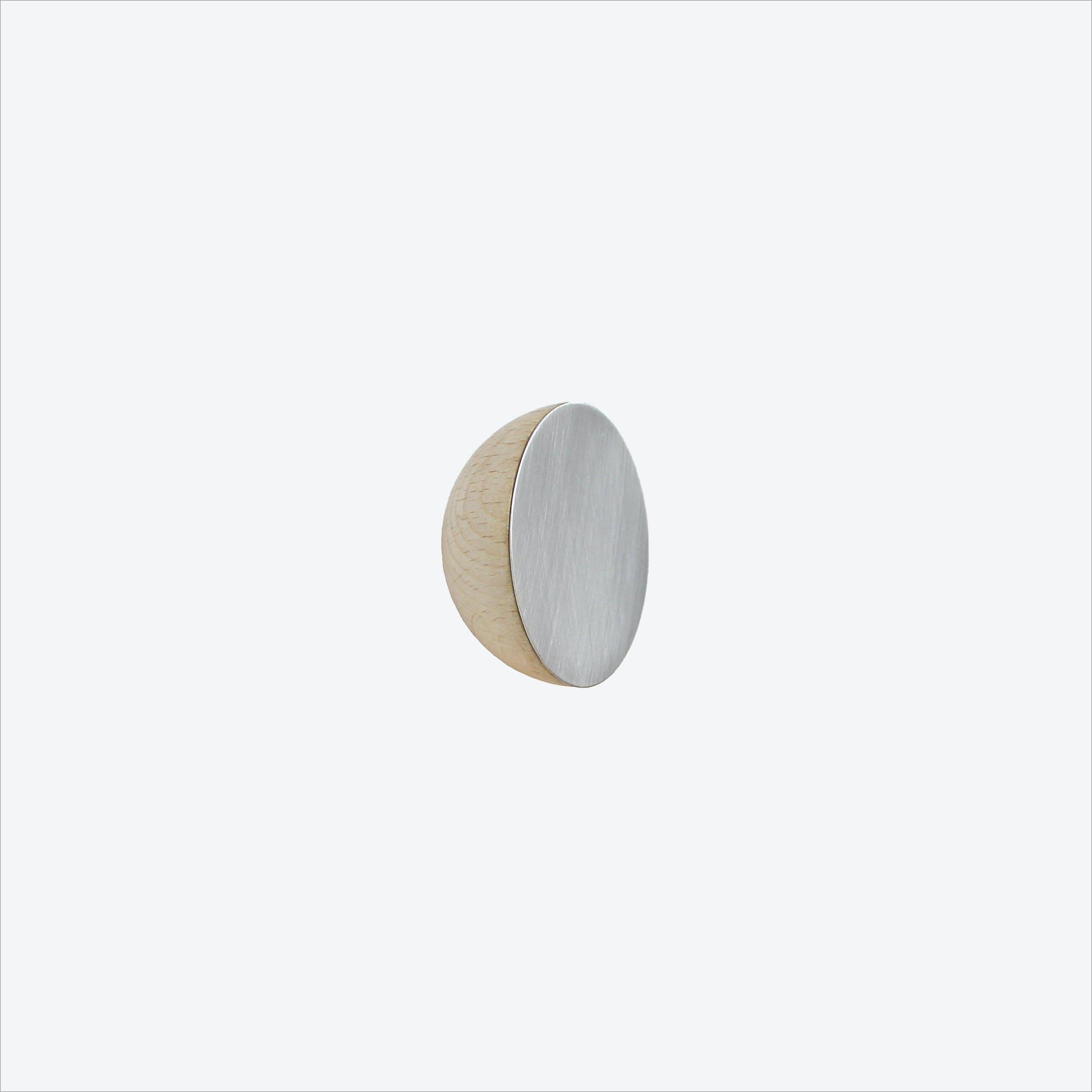 Round Beech Wood & Aluminium Wall Hook