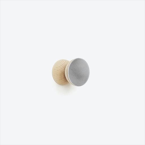Double Round Beech Wood & Aluminium Wall Hook, Ø 5cm
