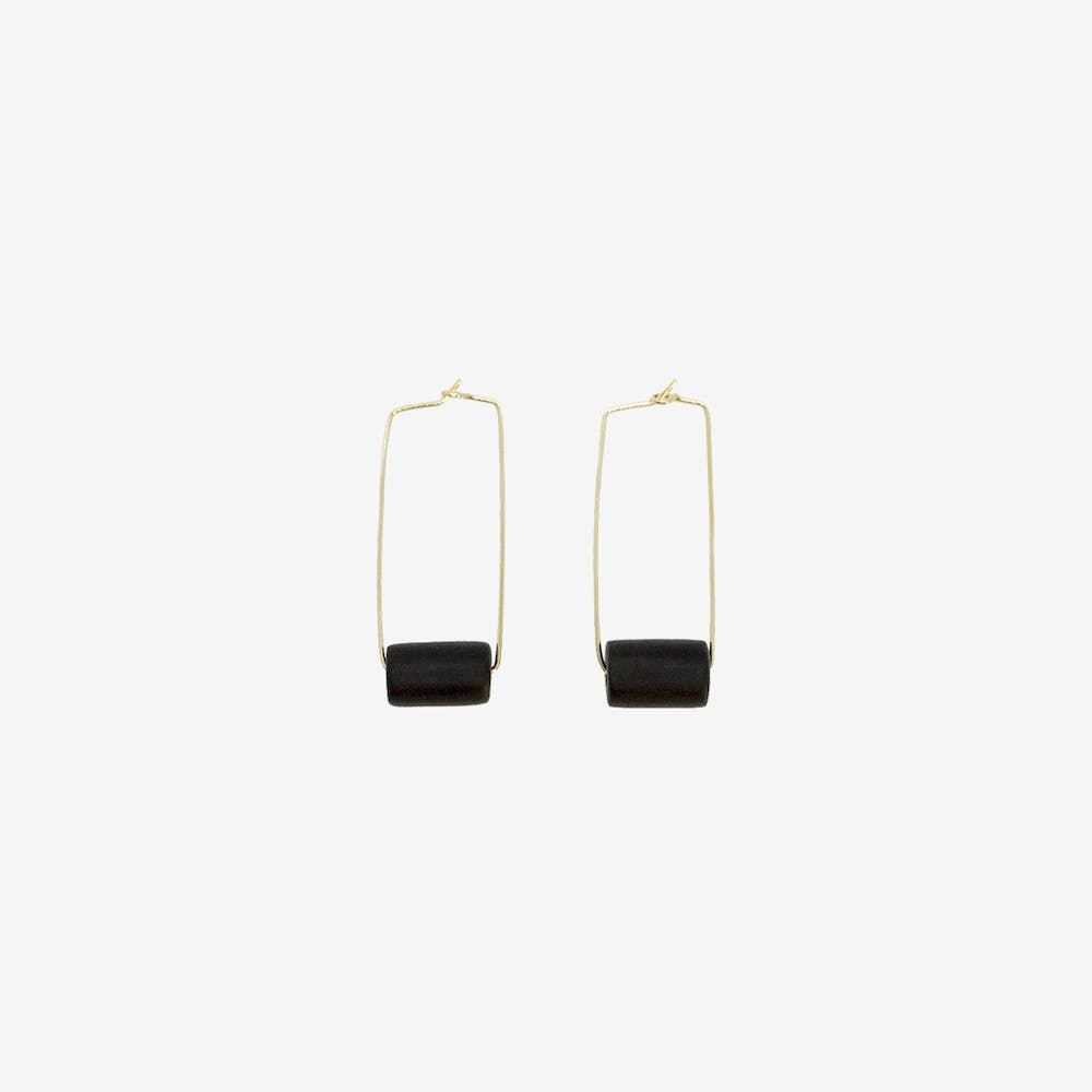 Gold Rectangle Earring - Black Bead