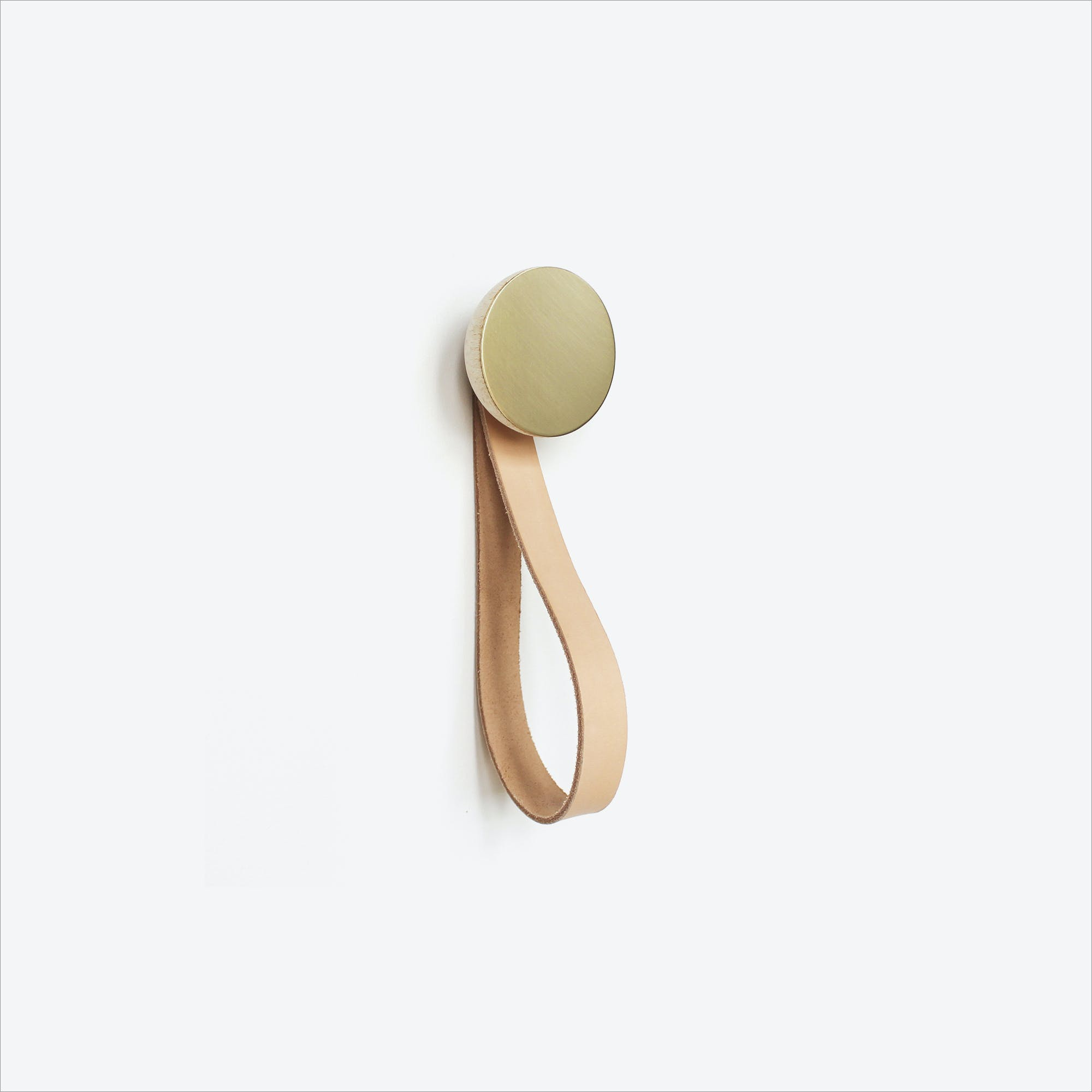 Round Beech Wood & Brass Wall Hook with Leather Strap