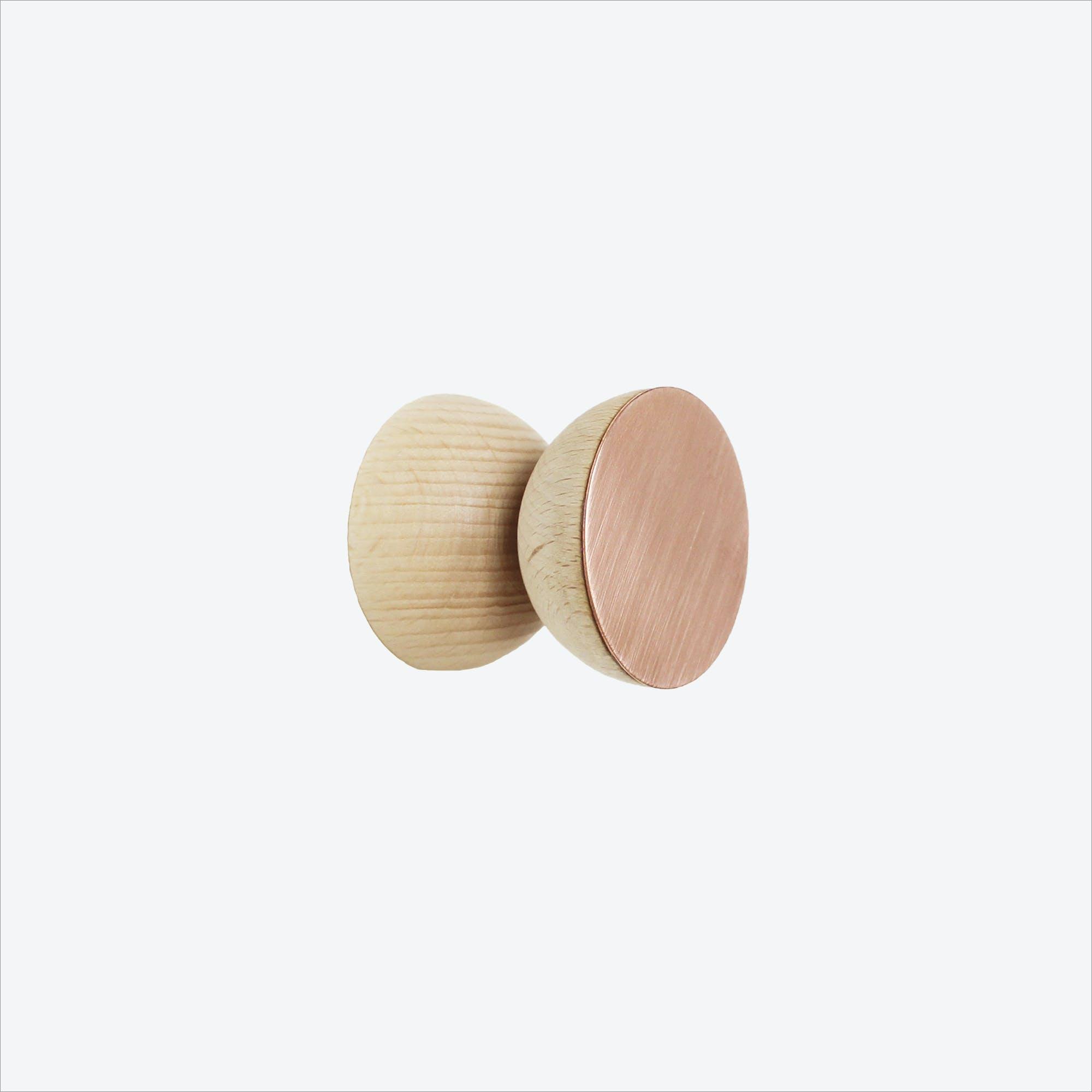 Double Round Beech Wood & Copper Wall Hook, Ø 5cm